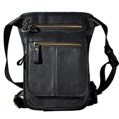 Cool Biker Mens Leather Drop Leg Bag Belt Pouch Waist Bag Side Bag Shoulder Bag for Men