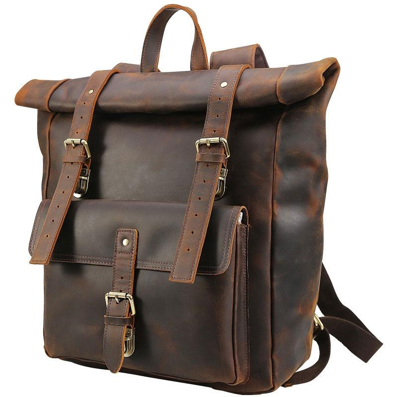 Cool Leather Coffee Rolltop Mens Backpacks Travel Backpack Vintage Backpack for Men