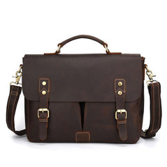Cool Leather Mens Vintage Briefcases Work Bag Business Bag Handbag Laptop Bag For Men