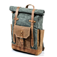 Cool Canvas Leather Mens Large Waterproof Travel Backpack Green Computer Hiking Backpack for Men