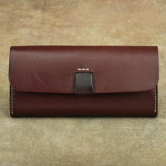 Cool Handmade Brown Leather Men's Large Envelope Long Wallet Green Vintage Long Wallet Clutch For Men