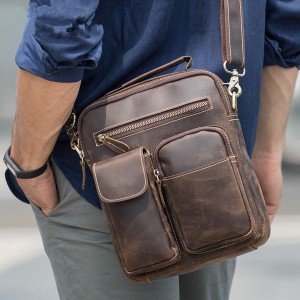Casual Vintage Leather Mens Small Side Bag Small Messenger bag Small Crossbody Bag For Men