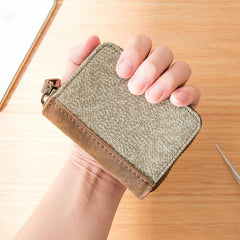 Gray Canvas Leather Mens Light Brown Small Wallets Zipper Bifold Card Wallet Coin Purse for Men