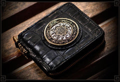 Handmade Leather Crocodile Skin Tooled Mens billfold Wallet Cool Chain Wallet Biker Wallet for Men