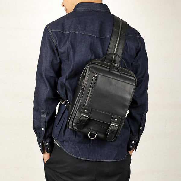 Black Leather Men's 10 inches Sling Bag Computer Backpack Black Travel Backpack Black Sling Pack For Men