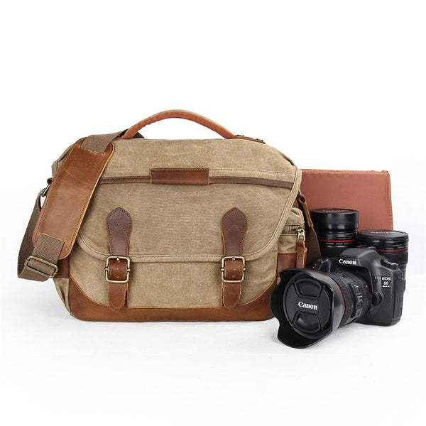 GREEN Waterproof CANVAS 14'' MENSCANON CAMERA SIDE BAG NIKON CAMERA SHOULDER BAG DSLR CAMERA MESSENGER BAG FOR MEN