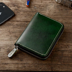 Handmade Cool Mens Leather Zipper Red Small Wallet Green Bifold billfold Wallet for Men