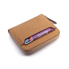 Leather Mens Zipper Front Pocket Wallet Card Wallet Slim Small Change Wallet for Men