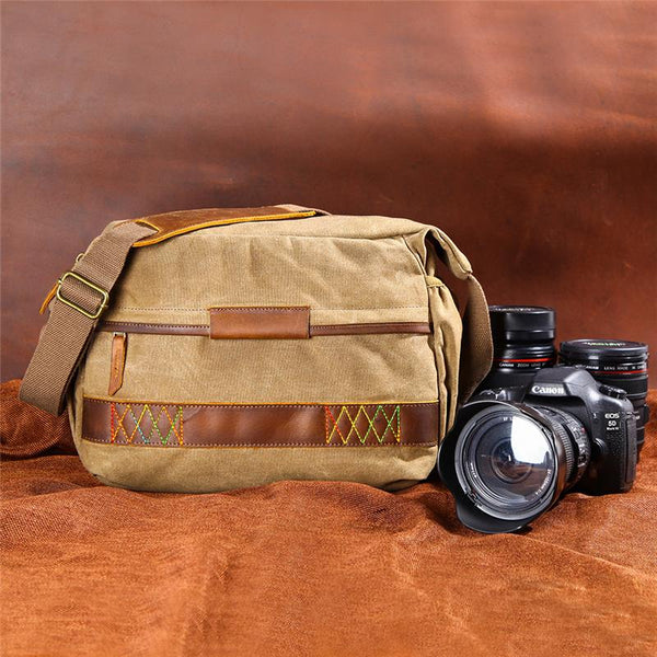 GREEN Waxed CANVAS 13'' MENSCANON Waterproof CAMERA SIDE BAG NIKON CAMERA SHOULDER BAG DSLR CAMERA MESSENGER BAG FOR MEN
