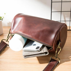 Red Brown Cool Leather Mens 8 inches Barrel Side Bag Bucket Messenger Bags Courier Bag for Men