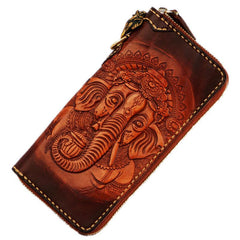 Handmade Leather Tooled Ganesh Mens Chain Biker Wallet Cool Leather Wallet Zipper Long Phone Wallets for Men