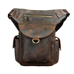 Cool Dark Brown Leather Mens Drop Leg Bag Belt Pouch Small Side Bag Shoulder Bag For Men