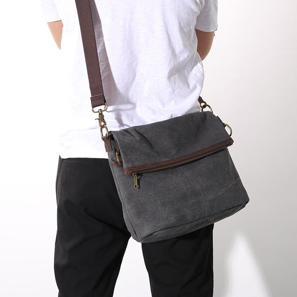 Canvas Mens 13'' Side Bag Courier Bag Gray Postman Bag Messenger Bag for Men