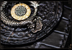 Handmade Leather Chinese Dragon Mens Chain Biker Wallet Cool Leather Wallet Long Clutch Wallets for Men