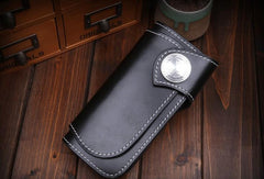 Handmade Mens Cool Black Leather Chain Wallet Biker Trucker Wallet with Chain