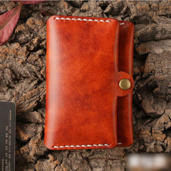 Handmade Leather Mens Cool Slim Leather Wallet Men Small Wallets Card Holders for Men
