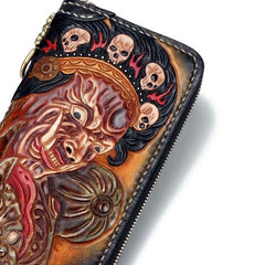 Handmade Leather Mahākāla Mens Chain Biker Wallet Cool Leather Wallet With Chain Wallets for Men