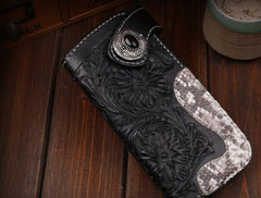 Handmade Leather Mens Cool Black Obsidian Chain Wallet Biker Trucker Wallet with Chain