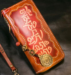 Handmade Leather Tooled Mens Chain Biker Wallet Cool Leather Wallet Long Phone Wallets for Men