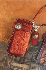 Handmade Leather Tooled Skull Mens Chain Biker Wallet Cool Leather Wallet Long Wallet for Men