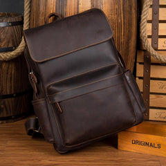 Brown Casual Mens Leather 15inches Computer Backpacks Black Travel Backpack College Backpacks for men