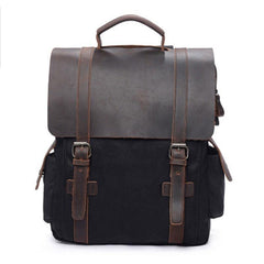 Cool Waxed Canvas Leather Mens Backpacks Canvas Travel Backpacks Canvas School Backpack for Men