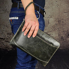 Large Leather Mens Wristlet Bag Wristlet Wallet Side Bag Clutch Wallet for Men