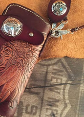 Handmade Leather Tooled Indian Chief Mens Chain Biker Wallet Cool Leather Wallet Long Wallet for Men