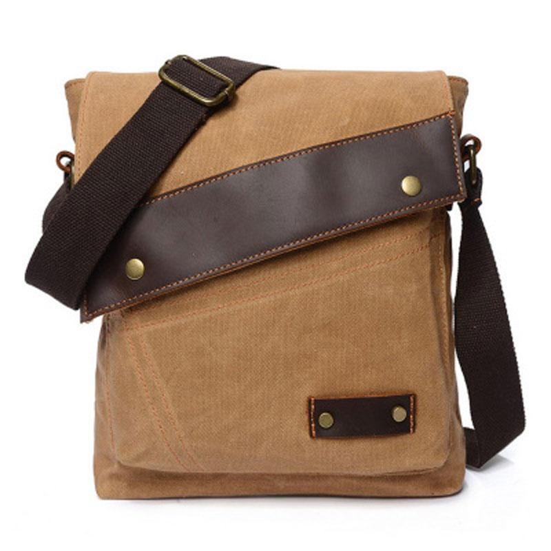 uk availability new lower prices discount sale Mens Waxed Canvas Small Side Bag Messenger Bag Canvas ...