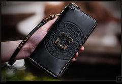 Handmade Leather Tibetan Mens Chain Biker Wallet Cool Leather Wallet Long Clutch Wallets for Men