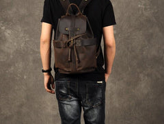 Genuine Leather Mens Cool Backpack Sling Bag Large Coffee Travel Bag Hiking Bag for men
