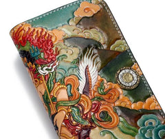 Handmade Leather Tooled White Jambhala Mens Long Wallet Cool Leather Clutch Wallets for Men