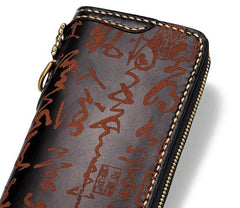 Handmade Leather Mens Chain Chinese Handwriting Biker Wallet Cool Leather Wallet Long Phone Wallets for Men