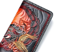 Handmade Leather Chinese Lion Mens Chain Biker Wallet Cool Leather Wallet With Chain Wallets for Men