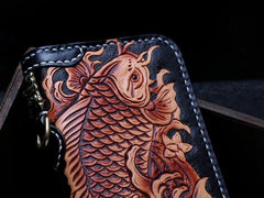 Handmade Leather Tooled Carp Mens Chain Biker Wallet Cool Leather Wallet Zipper Long Phone Wallets for Men