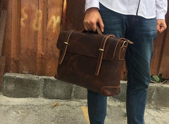 Vintage Leather Mens Briefcase Handbag Messenger Bag for men