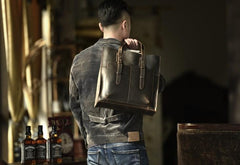 Handmade Leather Mens Cool Messenger Bag Tote Bag Handbag Shoulder Bag for men