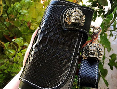 Handmade Mens Cool Tooled Boa Skin Leather Chain Wallet Biker Trucker Wallet with Chain