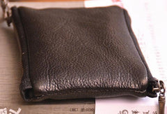 Black Mens Leather Slim Zipper Wallet billfold Wallet Coin Wallet Change Pouch For Men