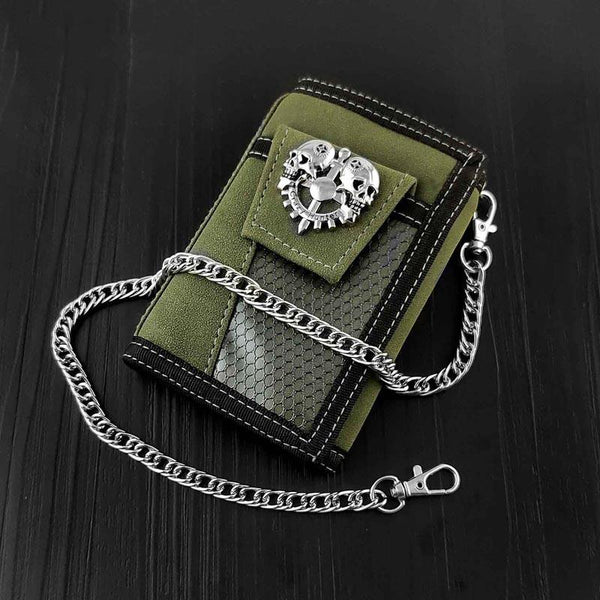 BADASS ARMY GREEN Canvas MENS TRIFOLD SMALL BIKER WALLETS CHAIN WALLET WALLET WITH CHAINS FOR MEN