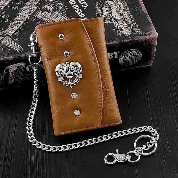 BADASS BROWN SKULL LEATHER MENS TRIFOLD SMALL BIKER WALLETS CHAIN WALLET WALLET WITH CHAIN FOR MEN