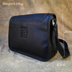 Black LEATHER MENS 10-inch Small Postman Bag SHOULDER BAG SIDE BAG COURIER BAG IPAD MESSENGER BAG FOR MEN