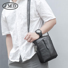 BADASS Black LEATHER MEN'S Small Side bag Vertical Phone Bag MESSENGER BAG Shoulder Bag FOR MEN