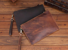 Brown MENS LEATHER SLIM ZIPPER CLUTCH WRISTLET PURSE CLUTCH BAGs FOR MEN