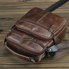 BROWN LEATHER MEN'S Small Side bag Vertical Courier Bag MESSENGER BAG FOR MEN