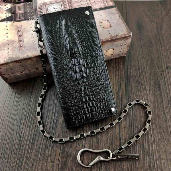 Badass Black Leather Men's Crocodile Pattern Long Biker Chain Wallet Long Wallet Chain For Men