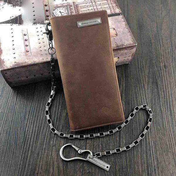 Badass Brown Leather Men's Long Biker Chain Wallet Bifold Long Wallets with Chain For Men