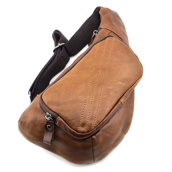 Brown Leather Men's Sling Bags Chest Bags Badass Brown One shoulder Backpack Sling Bag For Men