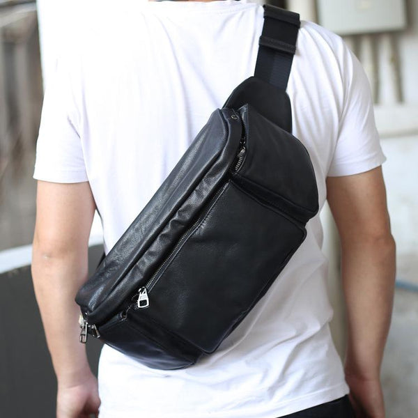 Black Leather Fanny Pack Men's Black Chest Bag Hip Bag Large Capacity Waist Bag For Men