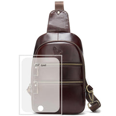 Badass Brown Leather Men's 8-inches Sling Bag Chest Bag One shoulder Backpack Sling Bag For Men